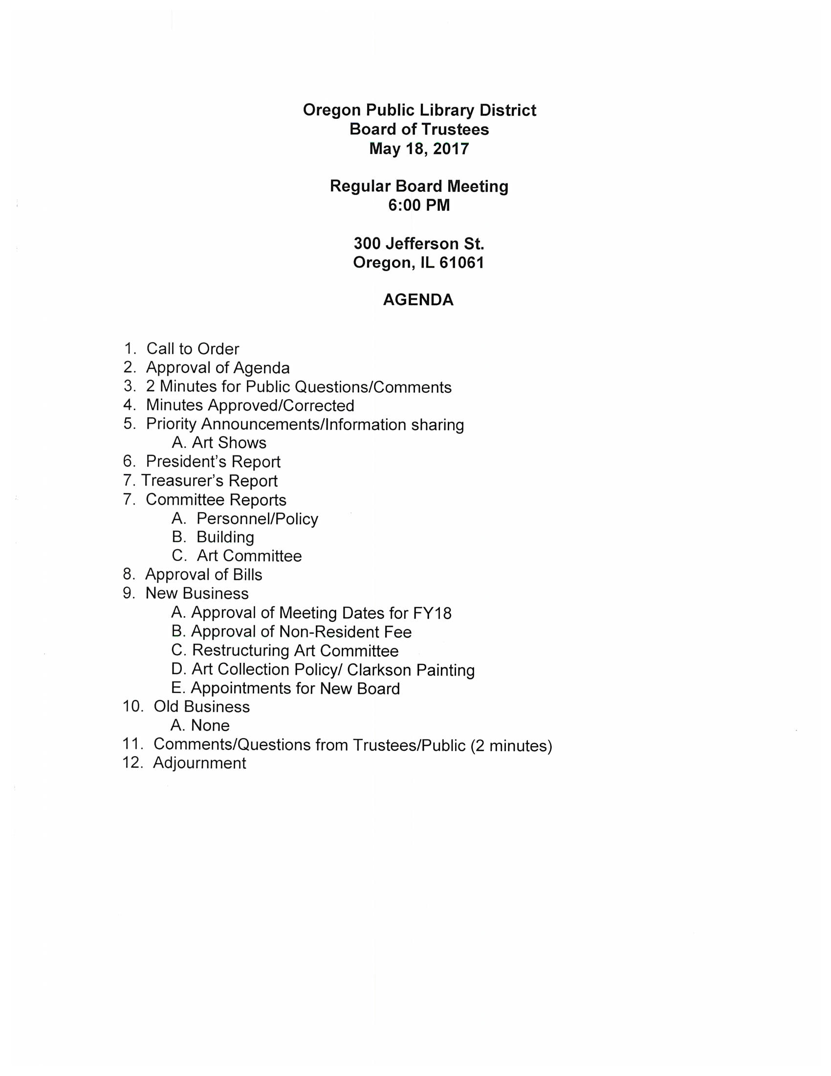 May Board Meeting Agenda – Oregon Public Library District