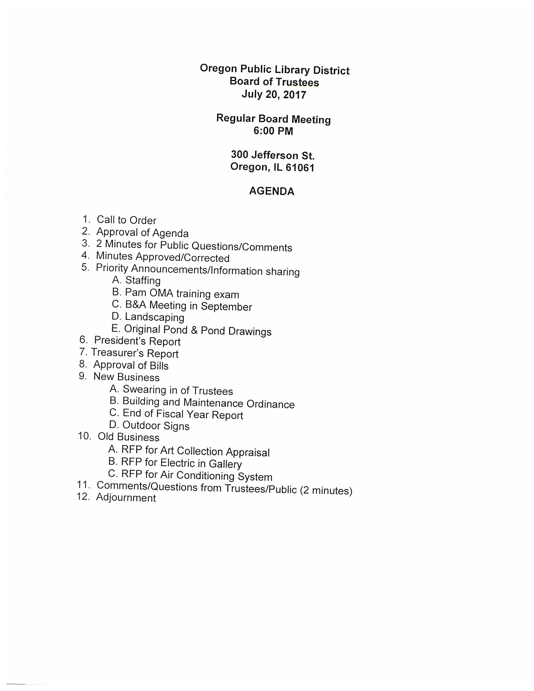 agenda and meeting