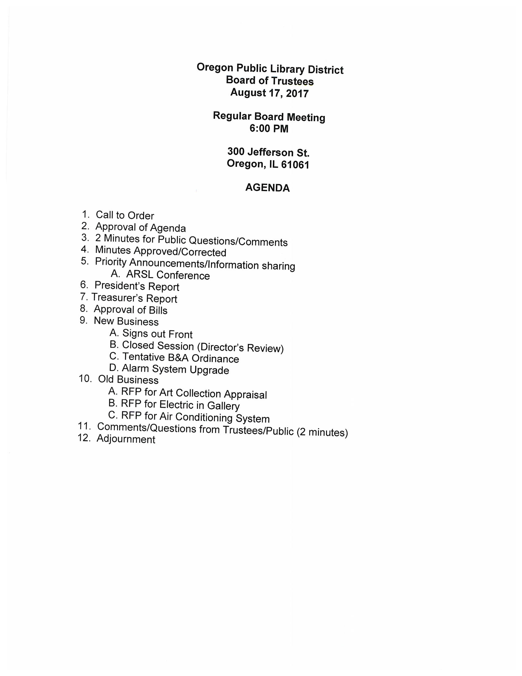 August Board Meeting Agenda – Oregon Public Library District