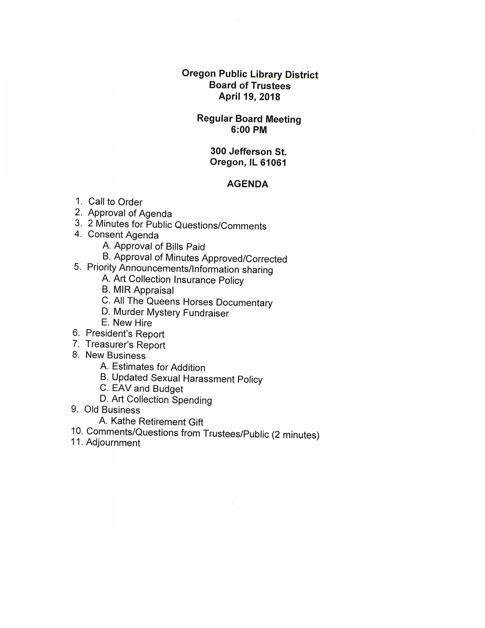 Board Meeting Agenda – Oregon Public Library District